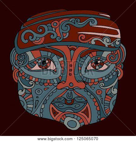 hand drawn ethnic head, indian idol totem face, vector illustration