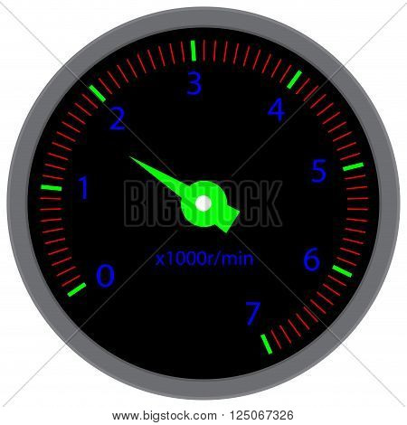 Tachometer dashboard device. Tache and speed velocity and dashboard tachograph and race indicator meter device panel. Vector flat design illustration