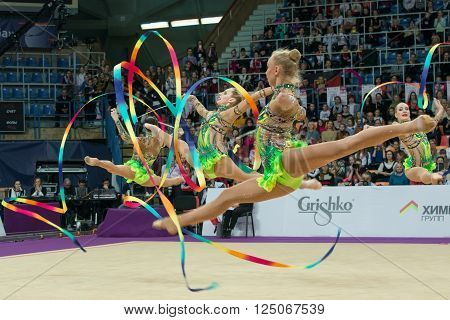 MOSCOW RUSSIA - FEBRUARY 19 2016: group exercises the Russian team on Rhythmic gymnastics Alina Cup Grand Prix Moscow - 2016 in Moscow sport palace Luzhniki Russia