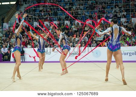 MOSCOW, RUSSIA - FEBRUARY 19, 2016: group exercises, the Israeli team on Rhythmic gymnastics Alina Cup Grand Prix Moscow - 2016 in Moscow sport palace Luzhniki, Russia