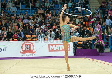 MOSCOW, RUSSIA - FEBRUARY 19, 2016: Vladinova Neviana, Bulgaria on Rhythmic gymnastics Alina Cup Grand Prix Moscow - 2016 in Moscow sport palace Luzhniki, Russia