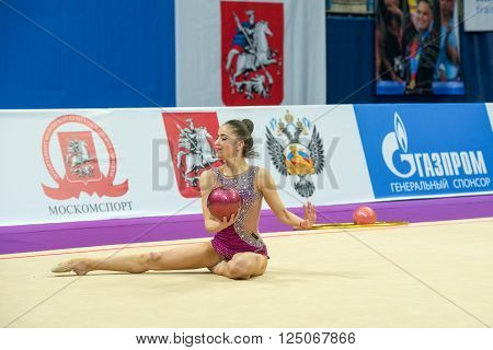 MOSCOW RUSSIA - FEBRUARY 19 2016: Vladinova Neviana Bulgaria on Rhythmic gymnastics Alina Cup Grand Prix Moscow - 2016 in Moscow sport palace Luzhniki Russia
