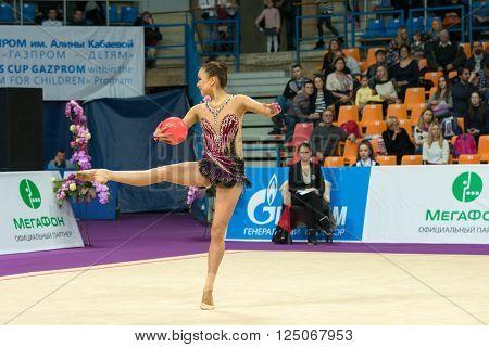MOSCOW RUSSIA - FEBRUARY 19 2016: Son Yeon Jae Korea on Rhythmic gymnastics Alina Cup Grand Prix Moscow - 2016 in Moscow sport palace Luzhniki Russia