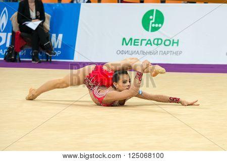 MOSCOW RUSSIA - FEBRUARY 19 2016: Linoy Ashram Israel on Rhythmic gymnastics Alina Cup Grand Prix Moscow - 2016 in Moscow sport palace Luzhniki Russia