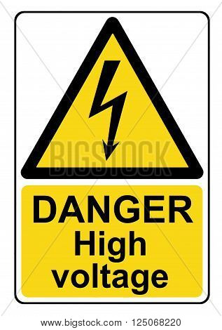 A Danger high voltage yellow warning sign poster