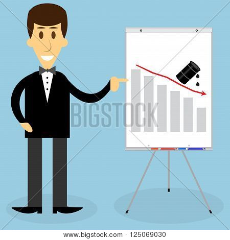 Man presentation oil fall. Business oil fall finance oil chart presentation oil economy down and crisis oil price. Vector flat design illustration