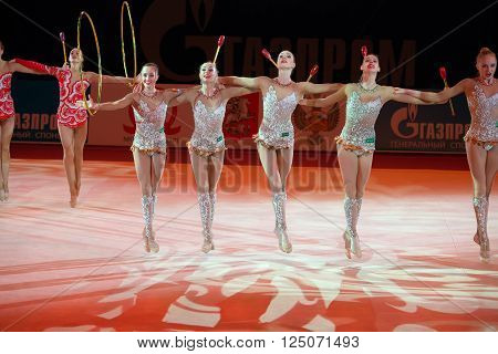 MOSCOW, RUSSIA - FEBRUARY 21, 2016: Russian team on Rhythmic gymnastics at the gala concert Grand Prix Moscow - 2016 in Moscow sport palace Luzhniki, Russia