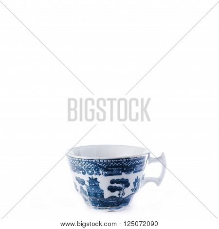 Antique fine china porcelain coffee cup isolated against pure white background. Square crop.