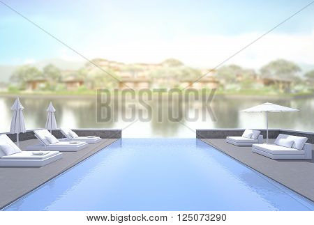 Swimming Pool And Terrace Of Blur Exterior Background