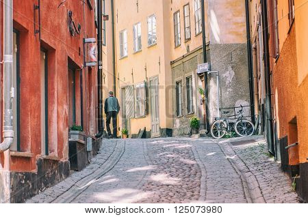 STOCKHOLM, SWEDEN - MAY 1: Springtime in the Old Town on May 1, 2009 in Stockholm. The historic medieval Old Town is a major tourist attraction in Stockholm.