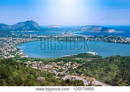 Aerial view of Regiao Oceanica (Oceanic Region) in Niteroi, Rio de Janeiro, Brazil.