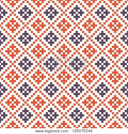 Traditional russian ornamen seamless vector pattern. Blue and red colors.