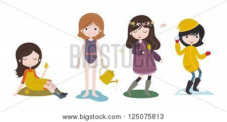 Cute cartoon girls and the four seasons. Futumn, summer, spring and winter. Stylized characters set. Vector illustration isolated on white background.
