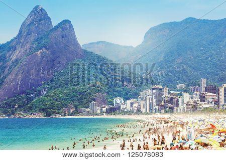 Rio de Janeiro, Brazil - February 5, 2016: View of Morro Dois Irmaos (Two Brothers Mountain) and Ipanema beach in Rio de Janeiro, Brazil.
