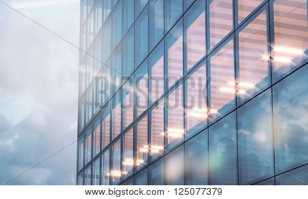 Photo of skyscraper tower. Modern office interior in evening time.Panoramic windows facade background, contemporary business center.Empty meeting room. 3D rendering
