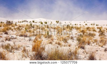 Sand storm blows in the distance at White Sands National Monument in south western New Mexico