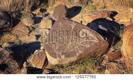 Petroglyph at Three Rivers Petroglyph site in New Mexico, USA.