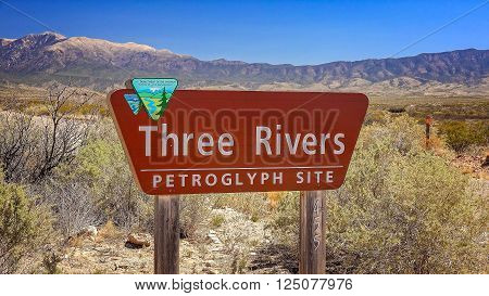 Three Rivers Petroglyph Site sign in south western New Mexico
