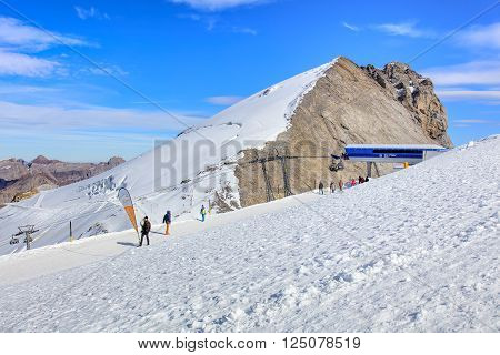 Mt. Titlis, Switzerland - 12 October, 2015: view on the top of the mountain. Titlis (also Mount Titlis) is a mountain of the Uri Alps located on the border between the Swiss cantons of Obwalden and Bern.