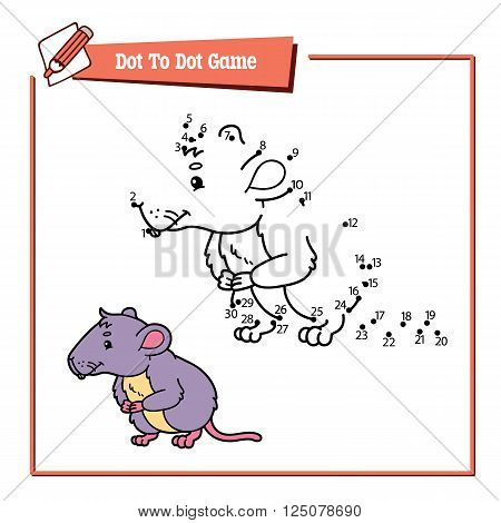 dot to dot vole educational kid puzzle game. Vector illustration educational kids game of dot to dot puzzle with happy cartoon mouse for children