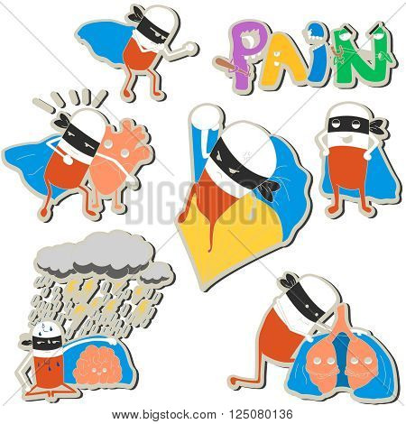 stickers pills-superheroes protect heart, lungs and brain. vector illustration for kids