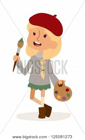 Artist girl with art brush isolated on white. Cute cartoon vector profession artist kid with brush. Artist girl funny cartoon kid. Profession artist children vector. Profession artist girl