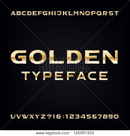 Golden Alphabet Vector Font. Modern metallic bold letters and numbers on the dark background. Stock vector typeface for your design.