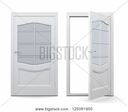 Open and closed door isolated on white background. 3d render image. Door with decorative elements, with glass inserts.