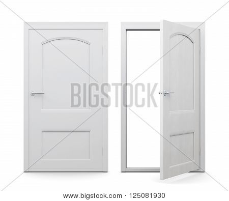 Open and closed doors isolated on white background. 3d rendering.