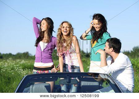 funey friends in dance car