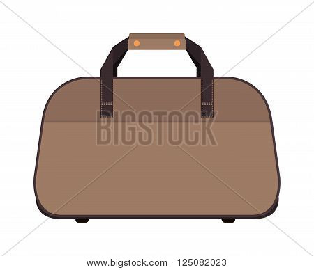 Travel tourism fashion bag and vacation handle travel bag. Travel bag leather big packing and voyage big bag destination. Travel fashion bag on wheels. Journey suitcase travel bag trip baggage vacation vector.