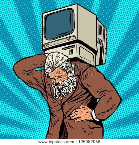 Antique Atlas strong man computer businessman pop art retro style. Greek image in the business. Mighty old man. Boss the head of the company. Computer business, programming poster