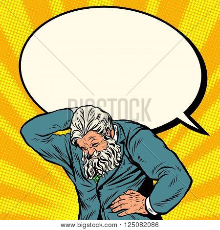 Antique Atlas strong man businessman comic bubble pop art retro style. Greek image in the business. Mighty old man. Boss the head of the company
