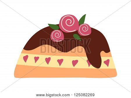 Pie isolated with fruits and chocolate pie isolated. Wedding or birthday cake sweet dessert homemade pie. Chocolate cream brownie cake topped pie isolated with white slice and cream flowers decorated vector.