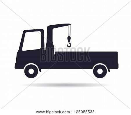 Truck crane icon, vector illustration isolated on white