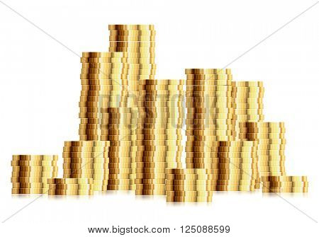 detailed illustration of a huge pile of golden coins, eps10 vector