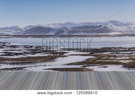 Opeing wooden floor,  Myvatn natural Winter landscape volcano, Iceland