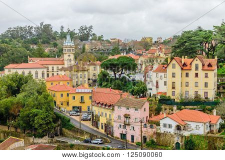 SINTRA, PORTUGAL - January 8: view of the historic part of Sintra in January 8, 2016, in Sintra, Portugal.
