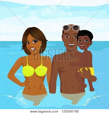 happy african american family enjoying vacation time resting at the resort