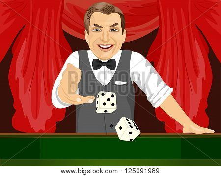 handsome mature man throwing dice in casino playing craps