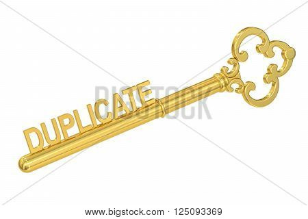 duplicate key concept with golden key 3D rendering