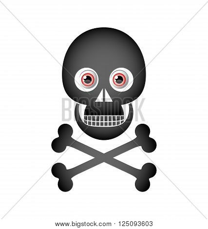 Skull and crossbones icon isolated on white background