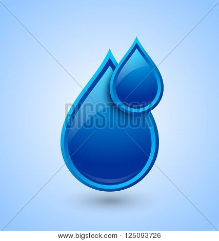 Blue glossy water drops icon isolated on pale background