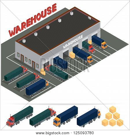 Isometric Warehouse. Storehouse Building. Cargo Industry. Delivery Business. Cargo Transportation. Commercial Truck. Vector Illustration
