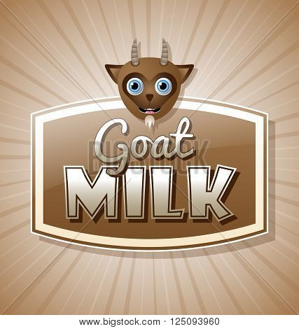 Goat milk label in retro style on brown background with sun burst effect