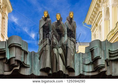 Vilnius, Lithuania - March 5: Statues of Lithuanian National Drama Theater in March 5, 2016 in Vilnius, Lithuania. National Drama Theater located on Gediminas Avenue in Vilnius.