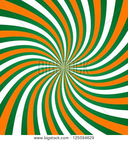 Twisted Irish green white and orange abstract background