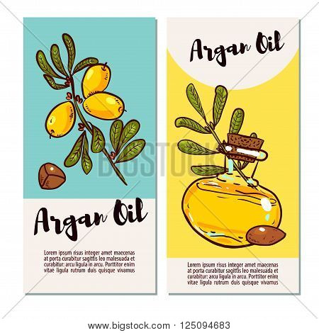 Argan banner in eco-style in natural colors. Argan flyers design layouts. Leaflet for cosmetics medicine ecology bio products. poster