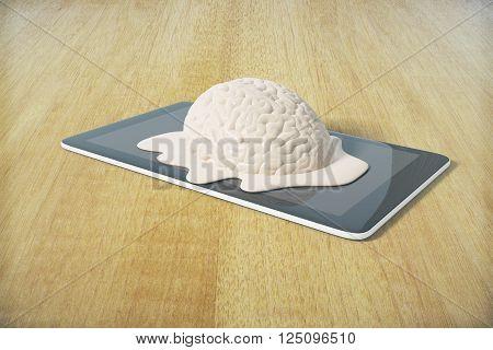 Mental degradation concept with brain melting on tablet placed on wooden desktop. 3D Rendering