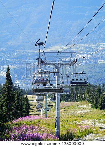 WHISTLER, BC, CANADA - August 18, 2015 :Solar Coaster Chairlift on Blackcomb Mountain, Whistler BC, Canada, August 18, 2015